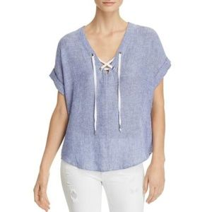 Rails Striped shirt Jeri double vneck linen lace